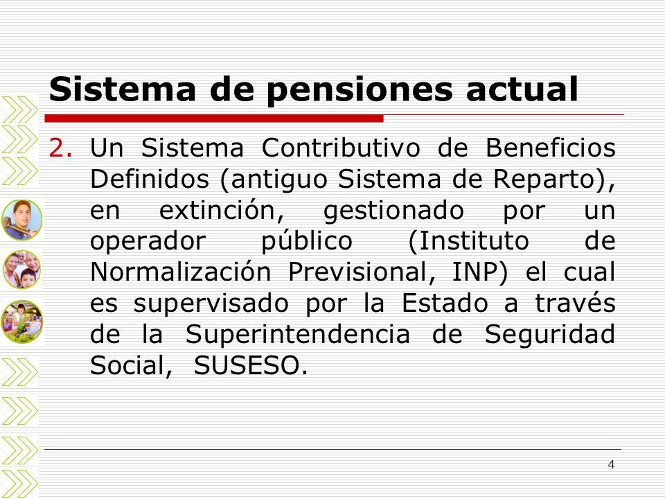 4 Sistema de pensiones actual 2.Un Sistema Contributivo de Beneficios Definidos (antiguo Sistema de Reparto), en extinción, gestionado por un operador