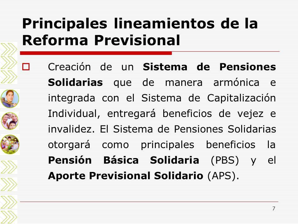 7 Principales lineamientos de la Reforma Previsional Creación de un Sistema de Pensiones Solidarias que de manera armónica e integrada con el Sistema