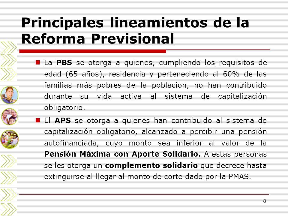 8 Principales lineamientos de la Reforma Previsional La PBS se otorga a quienes, cumpliendo los requisitos de edad (65 años), residencia y pertenecien