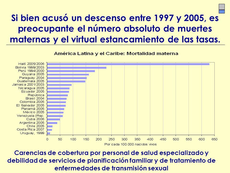Si bien acusó un descenso entre 1997 y 2005, es preocupante el número absoluto de muertes maternas y el virtual estancamiento de las tasas. Carencias