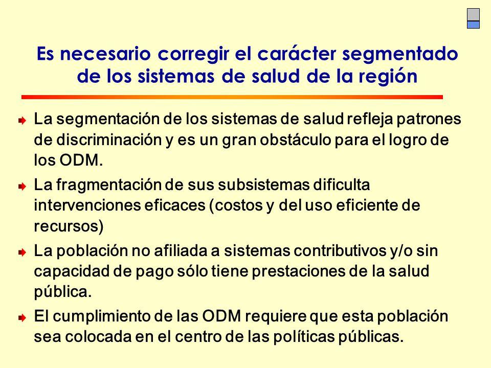 Es necesario corregir el carácter segmentado de los sistemas de salud de la región La segmentación de los sistemas de salud refleja patrones de discri