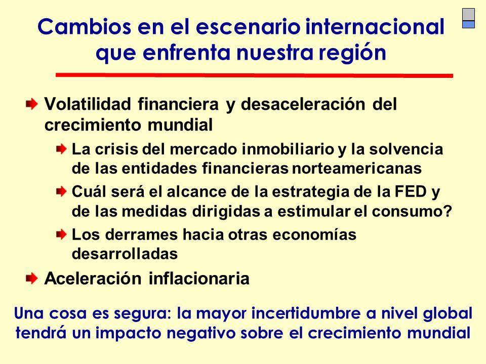 Cambios en el escenario internacional que enfrenta nuestra región Volatilidad financiera y desaceleración del crecimiento mundial La crisis del mercad