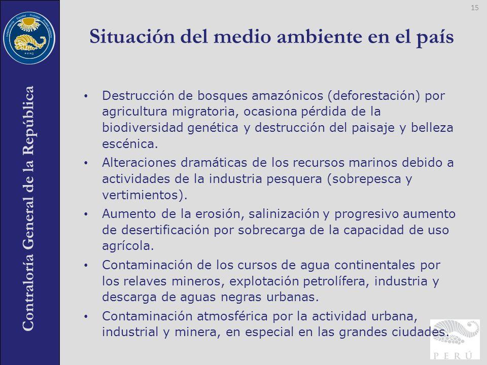 Contraloría General de la República Destrucción de bosques amazónicos (deforestación) por agricultura migratoria, ocasiona pérdida de la biodiversidad