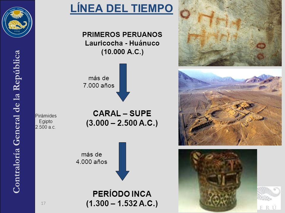 Contraloría General de la República 17 CARAL – SUPE (3.000 – 2.500 A.C.) PERÍODO INCA (1.300 – 1.532 A.C.) más de 4.000 años más de 7.000 años PRIMERO