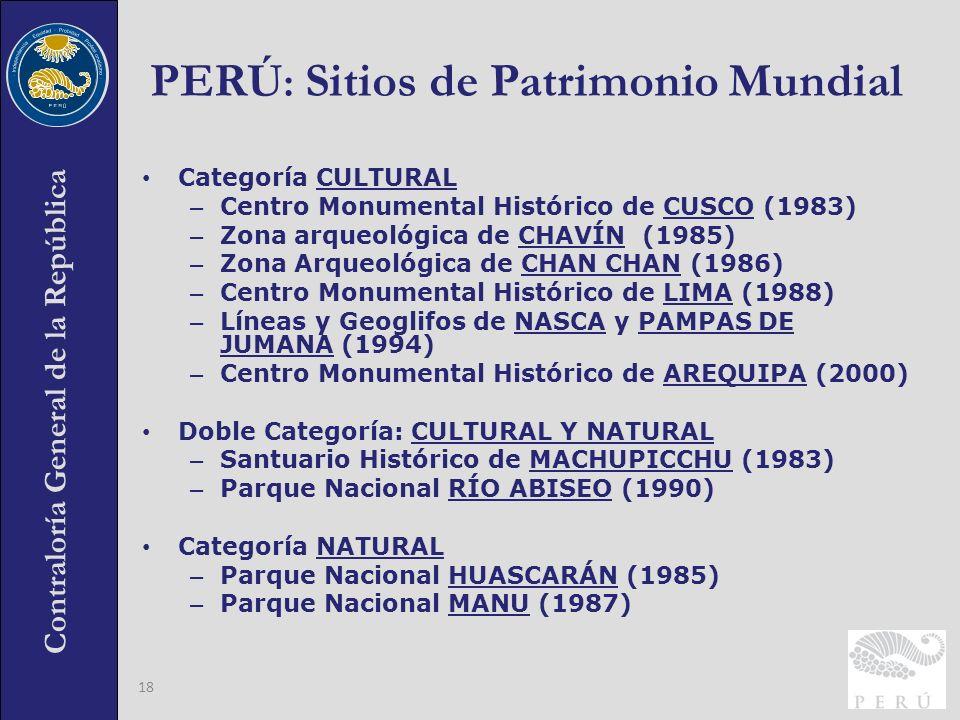Contraloría General de la República 18 PERÚ : Sitios de Patrimonio Mundial Categoría CULTURAL – Centro Monumental Histórico de CUSCO (1983) – Zona arq