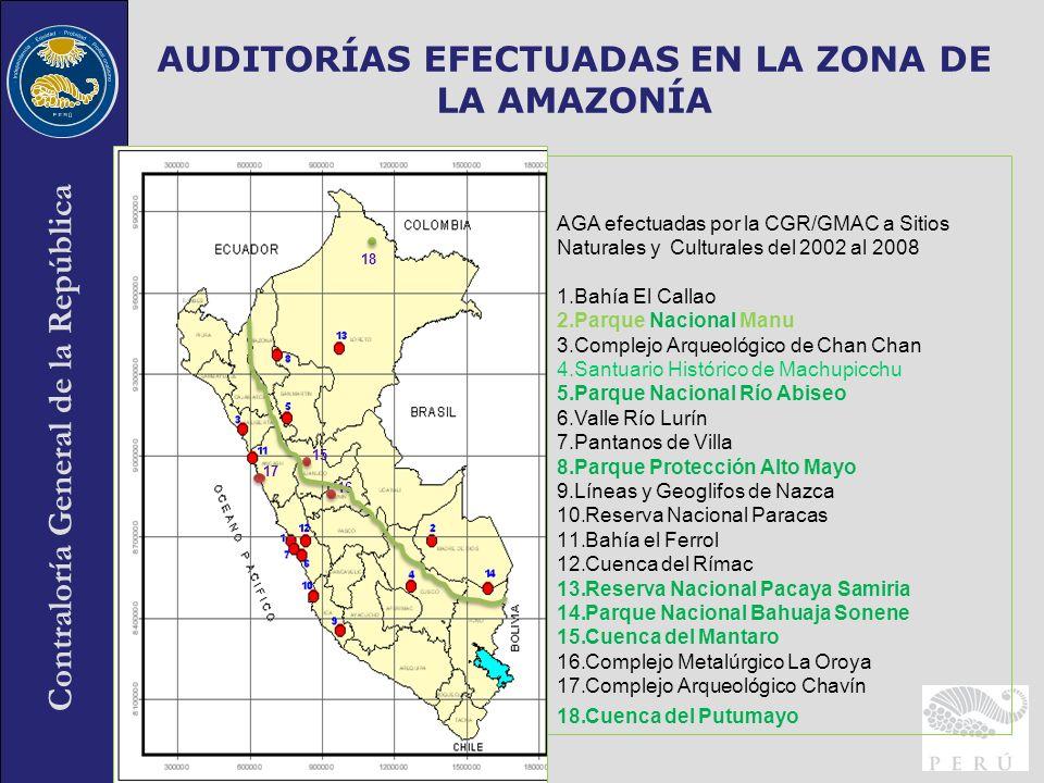 Contraloría General de la República 30 AUDITORÍAS EFECTUADAS EN LA ZONA DE LA AMAZONÍA AGA efectuadas por la CGR/GMAC a Sitios Naturales y Culturales