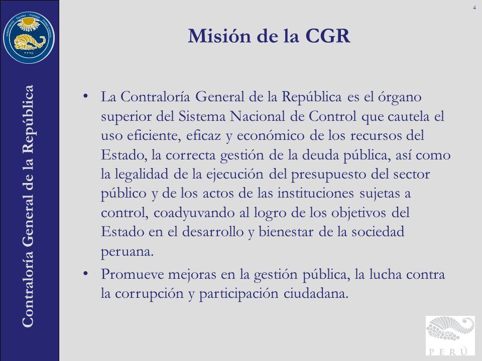 Contraloría General de la República La Contraloría General de la República es el órgano superior del Sistema Nacional de Control que cautela el uso ef