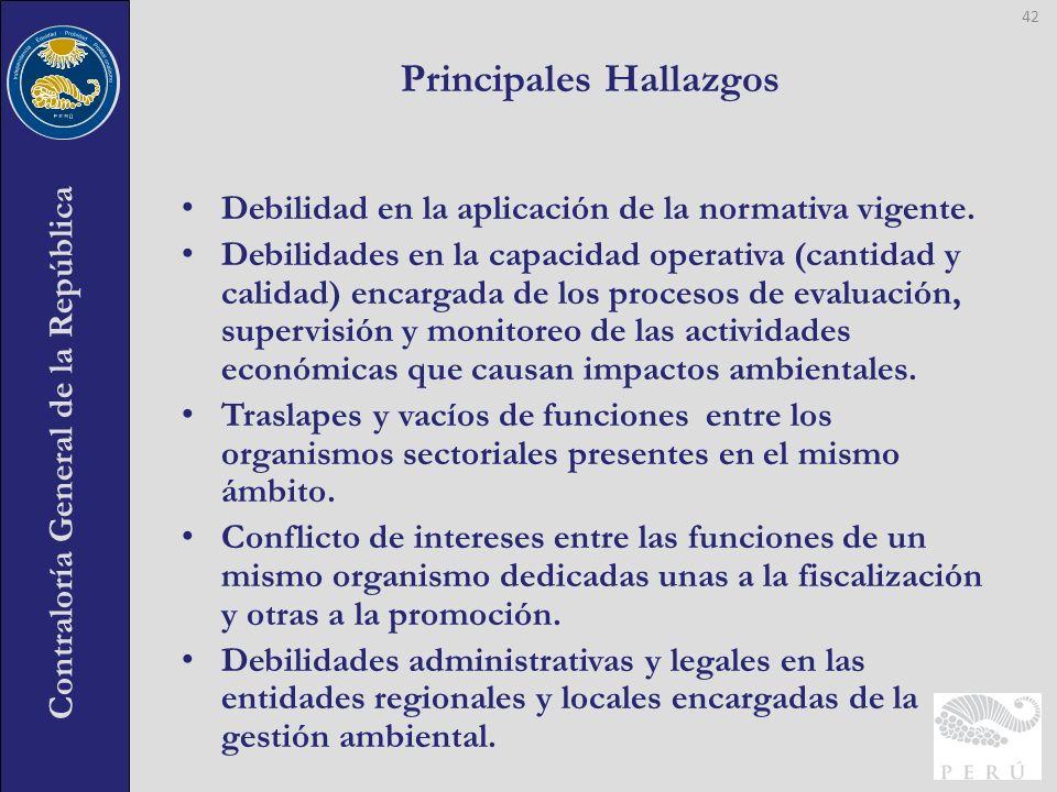 Contraloría General de la República Debilidad en la aplicación de la normativa vigente. Debilidades en la capacidad operativa (cantidad y calidad) enc