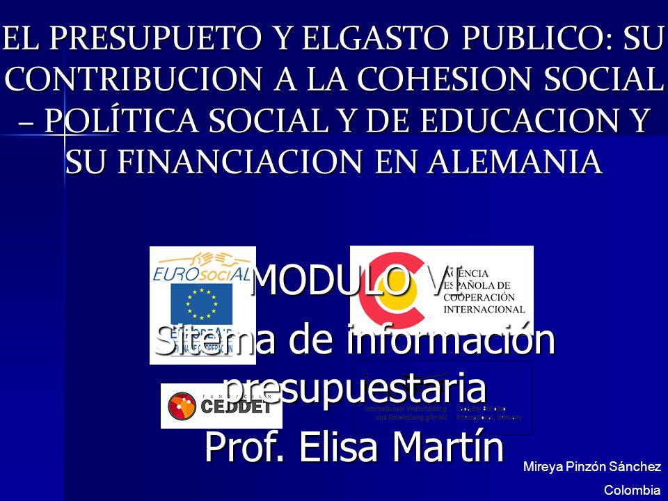 EL PRESUPUETO Y ELGASTO PUBLICO: SU CONTRIBUCION A LA COHESION SOCIAL – POLÍTICA SOCIAL Y DE EDUCACION Y SU FINANCIACION EN ALEMANIA Mireya Pinzón Sán
