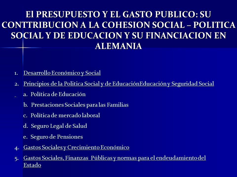 El PRESUPUESTO Y EL GASTO PUBLICO: SU CONTTRIBUCION A LA COHESION SOCIAL – POLITICA SOCIAL Y DE EDUCACION Y SU FINANCIACION EN ALEMANIA 1.Desarrollo E