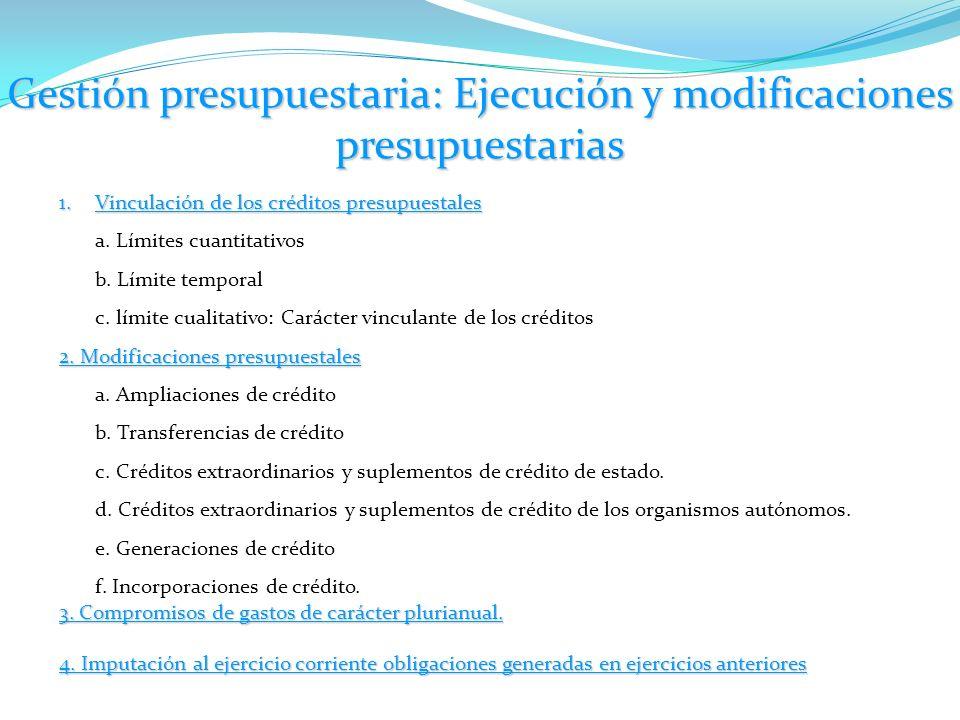 Gestión presupuestaria: Ejecución y modificaciones presupuestarias 1.Vinculación de los créditos presupuestales a. Límites cuantitativos b. Límite tem