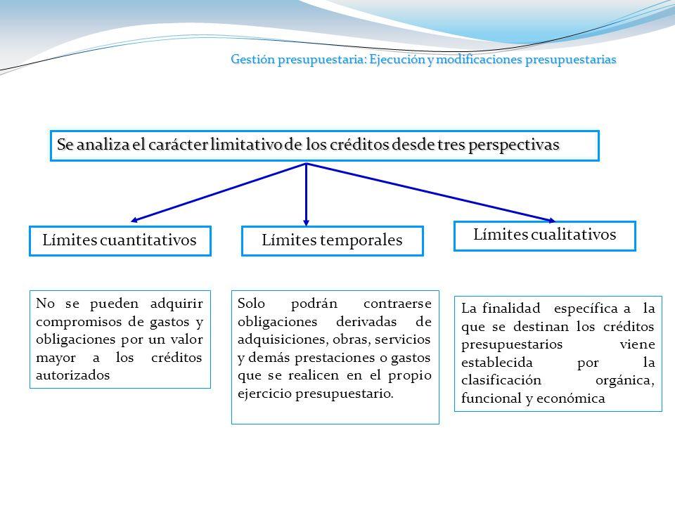 Gestión presupuestaria: Ejecución y modificaciones presupuestarias Se analiza el carácter limitativo de los créditos desde tres perspectivas Límites c