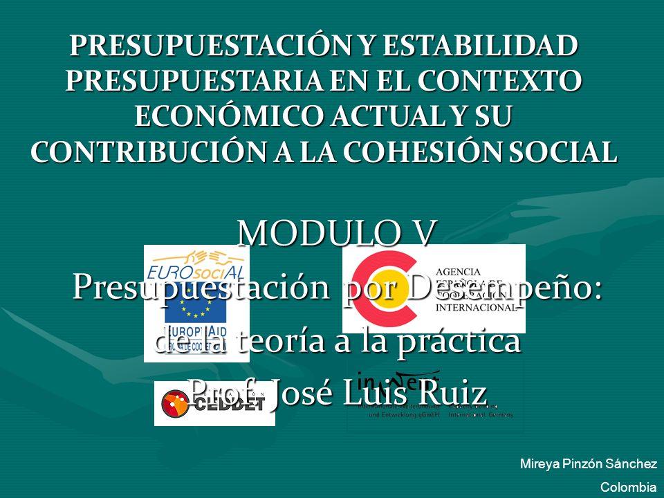 PRESUPUESTACIÓN Y ESTABILIDAD PRESUPUESTARIA EN EL CONTEXTO ECONÓMICO ACTUAL Y SU CONTRIBUCIÓN A LA COHESIÓN SOCIAL MODULO V Presupuestación por Desem