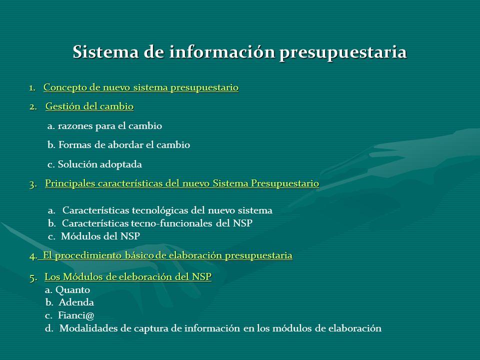 Sistema de información presupuestaria 1. Concepto de nuevo sistema presupuestario 2. Gestión del cambio a. razones para el cambio b. Formas de abordar