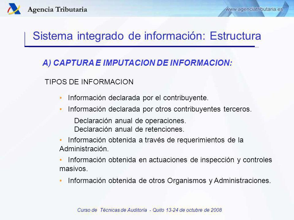 Curso de Técnicas de Auditoría - Quito 13-24 de octubre de 2008 A) CAPTURA E IMPUTACION DE INFORMACIÓN: Incorporación de nuevas tecnologías Validaciones previas en la entrada Utilización de etiquetas identificativas Programas PADRE y lectura PDF Sistema integrado de información: Estructura
