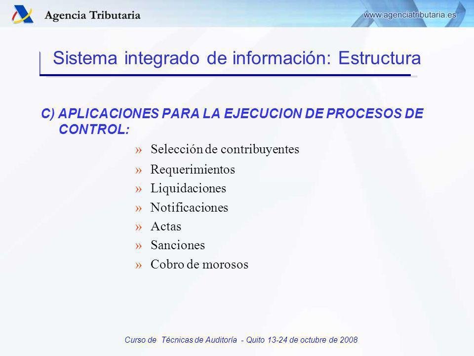 Curso de Técnicas de Auditoría - Quito 13-24 de octubre de 2008 B) CONSULTA DE CONTRIBUYENTES: Identificación Consultas específicas Consulta integral Sistema integrado de información: Estructura