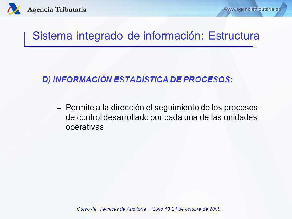 Curso de Técnicas de Auditoría - Quito 13-24 de octubre de 2008 C) APLICACIONES PARA LA EJECUCION DE PROCESOS DE CONTROL: » Selección de contribuyentes » Requerimientos » Liquidaciones » Notificaciones » Actas » Sanciones » Cobro de morosos Sistema integrado de información: Estructura