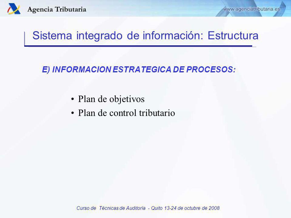 Curso de Técnicas de Auditoría - Quito 13-24 de octubre de 2008 D) INFORMACIÓN ESTADÍSTICA DE PROCESOS: –Permite a la dirección el seguimiento de los procesos de control desarrollado por cada una de las unidades operativas Sistema integrado de información: Estructura