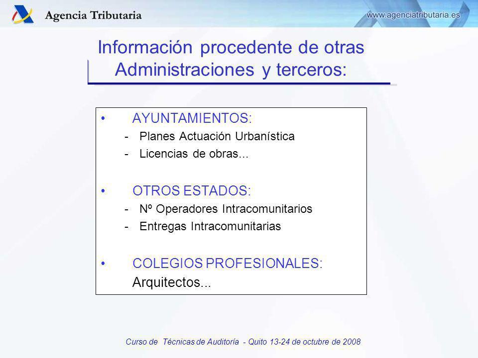 Curso de Técnicas de Auditoría - Quito 13-24 de octubre de 2008 E) INFORMACION ESTRATEGICA DE PROCESOS: Plan de objetivos Plan de control tributario Sistema integrado de información: Estructura