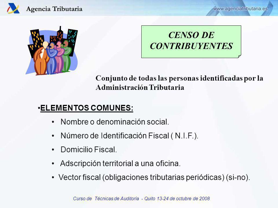Curso de Técnicas de Auditoría - Quito 13-24 de octubre de 2008 Sistema integrado de información: Características Gran potencial y adecuado dimensionamiento de la red Servicio integrado a toda la Organización Completo, con toda la información de los contribuyentes Dinámico y sometido a permanente actualización Dirigido por especialistas en organización administrativa con amplios conocimientos fiscales