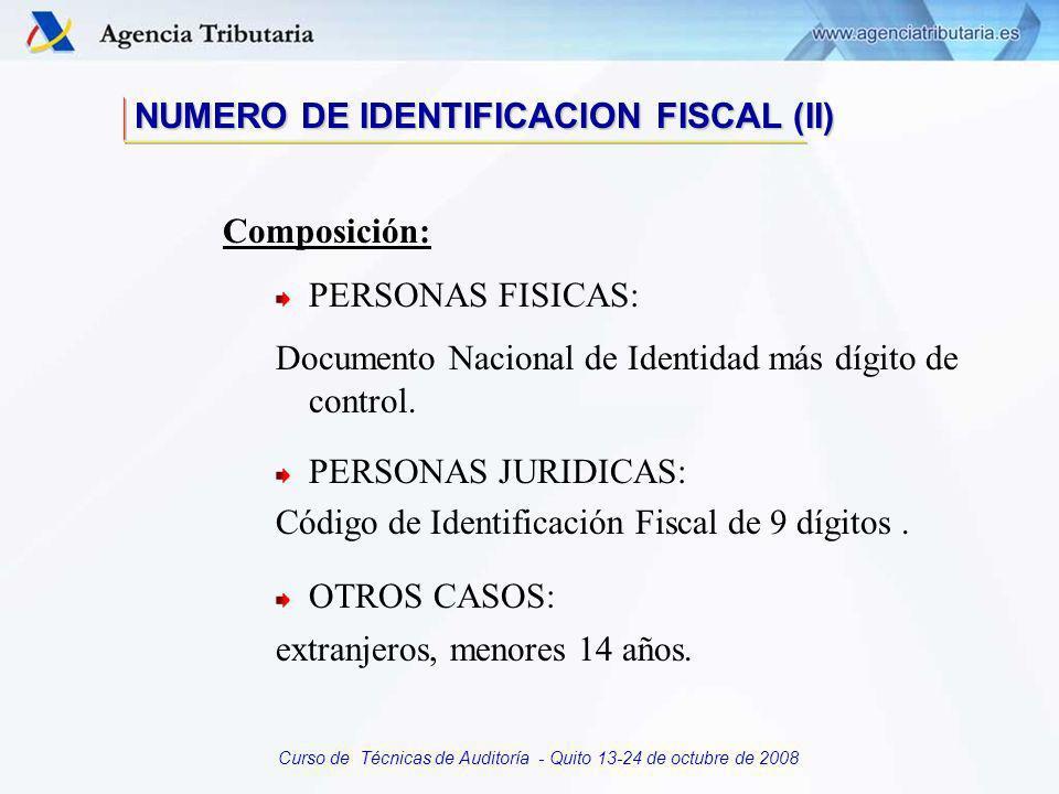 Curso de Técnicas de Auditoría - Quito 13-24 de octubre de 2008 Principal elemento diferenciador a efectos de identificación. Posibilita la correcta i