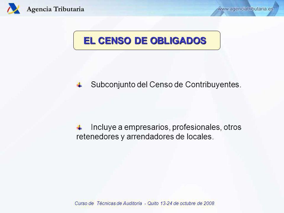 Curso de Técnicas de Auditoría - Quito 13-24 de octubre de 2008 Procedimiento de obtención: PERSONAS FISICAS con actividades empresariales y PERSONAS JURIDICAS en el modelo de declaración censal.