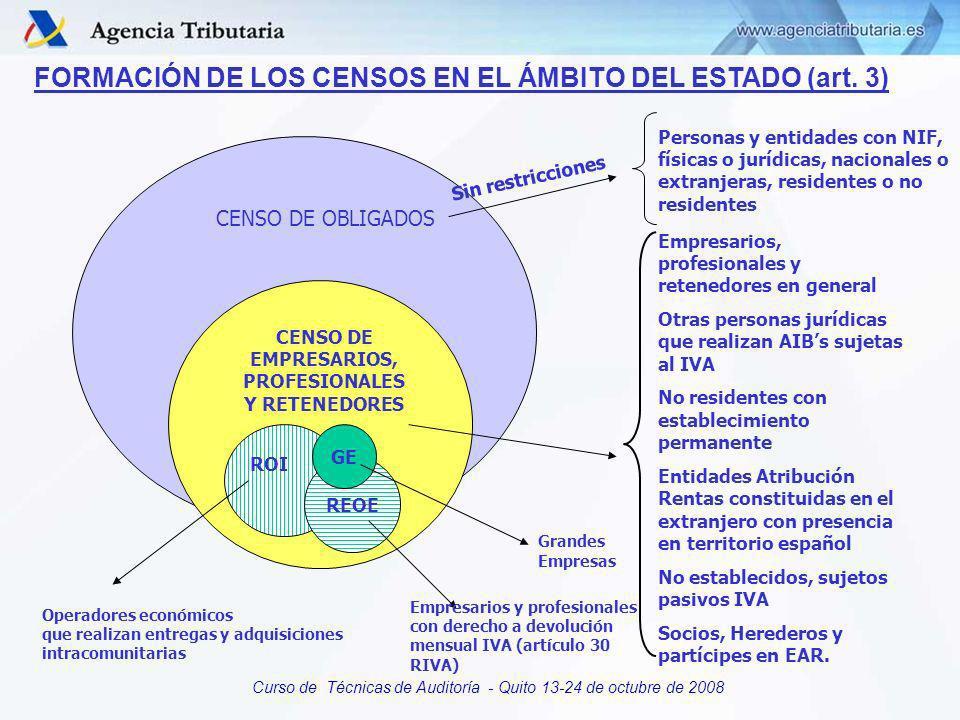 Curso de Técnicas de Auditoría - Quito 13-24 de octubre de 2008 EL CENSO DE OBLIGADOS Subconjunto del Censo de Contribuyentes. Incluye a empresarios,