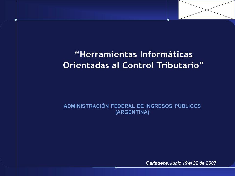 Herramientas Informáticas Orientadas al Control Tributario ADMINISTRACIÓN FEDERAL DE INGRESOS PÚBLICOS (ARGENTINA) Cartagena, Junio 19 al 22 de 2007