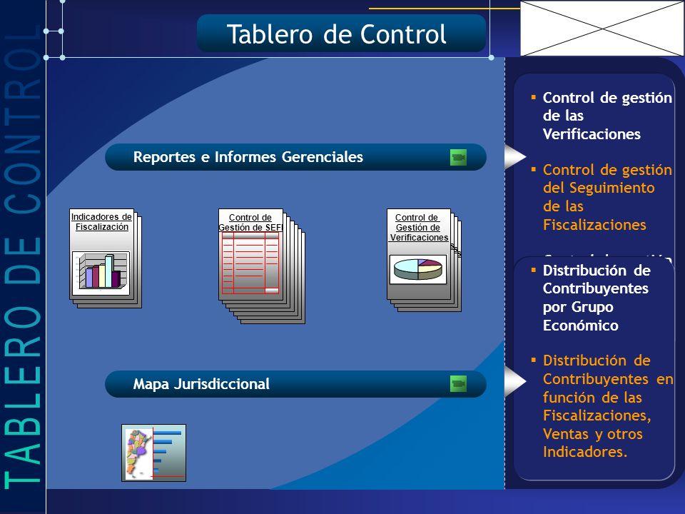 Control de gestión de las Verificaciones Control de gestión del Seguimiento de las Fiscalizaciones Control de gestión de Trámites Indicadores de Fiscalización Tablero de Control Reportes e Informes Gerenciales Mapa Jurisdiccional Control de Gestión de Verificaciones Control de Gestión de Verificaciones Control de Gestión de Verificaciones Control de Gestión de Verificaciones Indicadores de Fiscalización Control de Gestión de SEFI Distribución de Contribuyentes por Grupo Económico Distribución de Contribuyentes en función de las Fiscalizaciones, Ventas y otros Indicadores.
