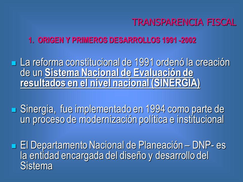 La reforma constitucional de 1991 ordenó la creación de un Sistema Nacional de Evaluación de resultados en el nivel nacional (SINERGIA) La reforma constitucional de 1991 ordenó la creación de un Sistema Nacional de Evaluación de resultados en el nivel nacional (SINERGIA) Sinergia, fue implementado en 1994 como parte de un proceso de modernización política e institucional Sinergia, fue implementado en 1994 como parte de un proceso de modernización política e institucional El Departamento Nacional de Planeación – DNP- es la entidad encargada del diseño y desarrollo del Sistema El Departamento Nacional de Planeación – DNP- es la entidad encargada del diseño y desarrollo del Sistema 1.