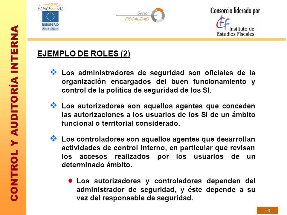 CONTROL Y AUDITORÍA INTERNA 10 EJEMPLO DE ROLES (2) Los administradores de seguridad son oficiales de la organización encargados del buen funcionamien