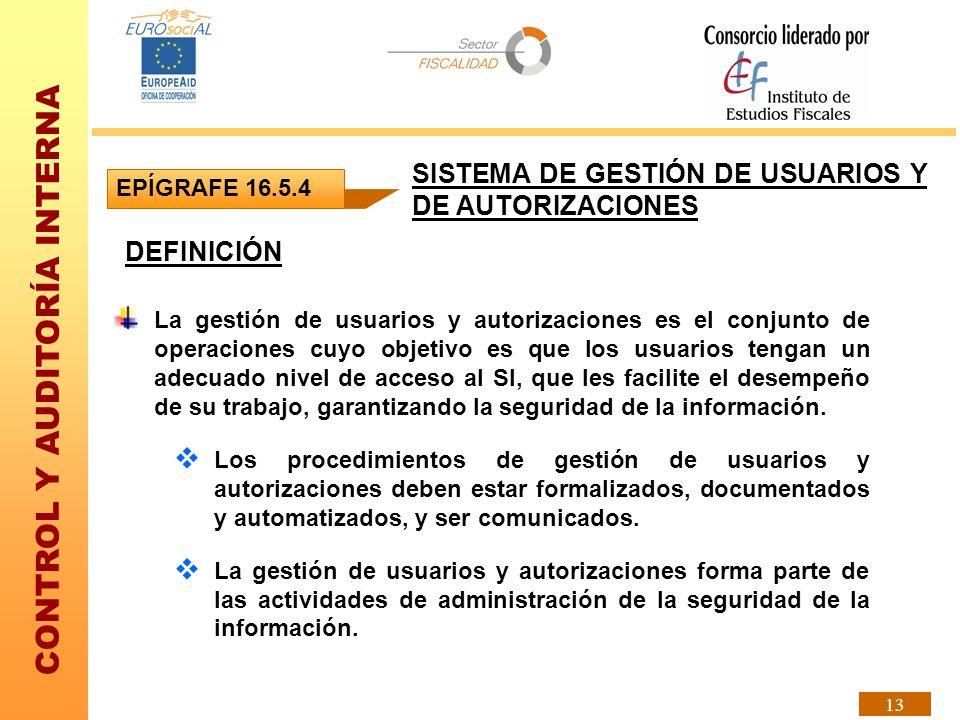 CONTROL Y AUDITORÍA INTERNA 13 DEFINICIÓN La gestión de usuarios y autorizaciones es el conjunto de operaciones cuyo objetivo es que los usuarios teng