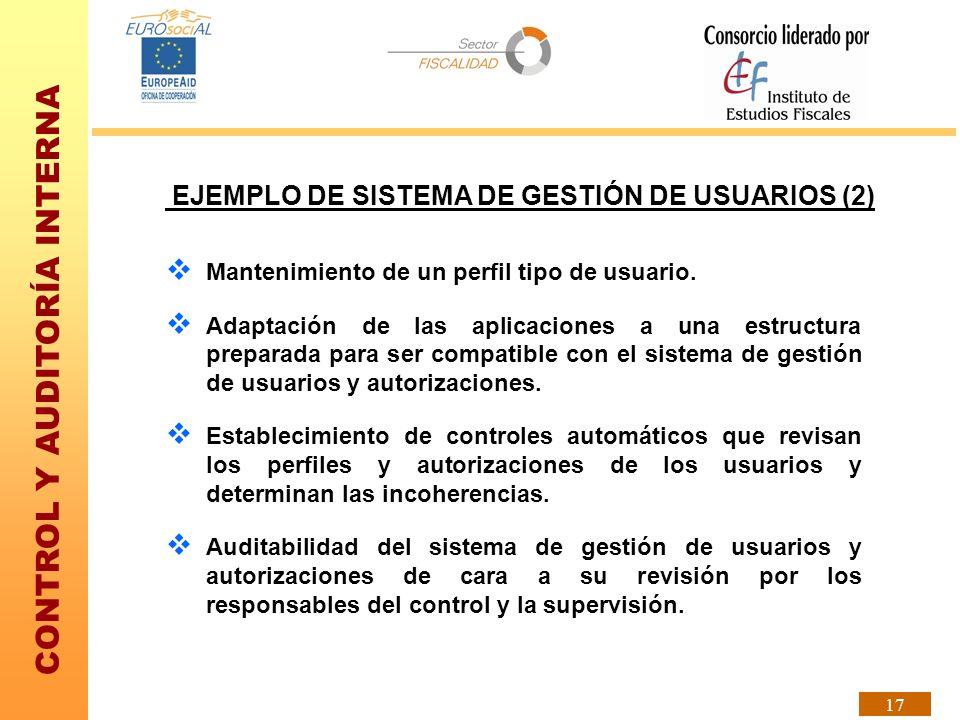 CONTROL Y AUDITORÍA INTERNA 17 EJEMPLO DE SISTEMA DE GESTIÓN DE USUARIOS (2) Mantenimiento de un perfil tipo de usuario. Adaptación de las aplicacione