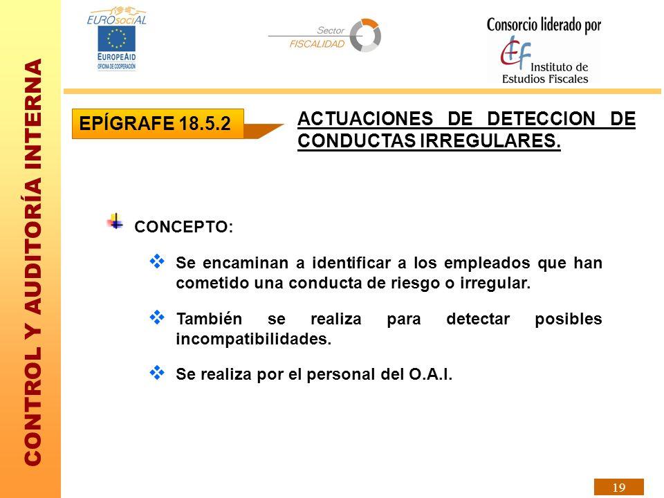 CONTROL Y AUDITORÍA INTERNA 19 ACTUACIONES DE DETECCION DE CONDUCTAS IRREGULARES. CONCEPTO: Se encaminan a identificar a los empleados que han cometid