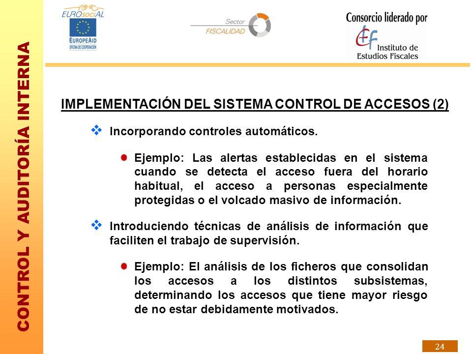 CONTROL Y AUDITORÍA INTERNA 24 IMPLEMENTACIÓN DEL SISTEMA CONTROL DE ACCESOS (2) Incorporando controles automáticos. Ejemplo: Las alertas establecidas