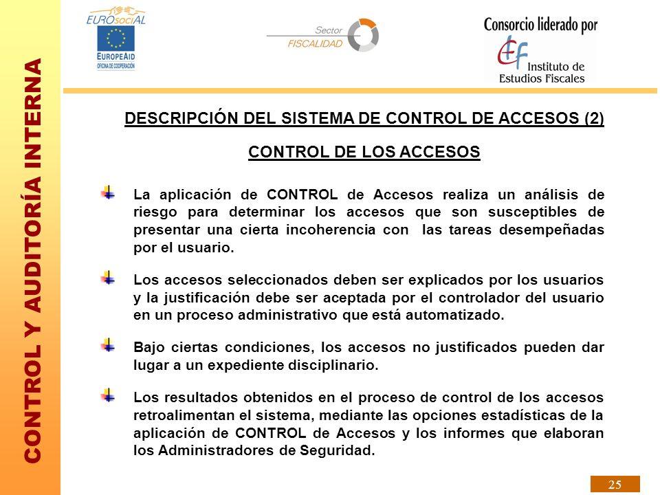 CONTROL Y AUDITORÍA INTERNA 25 La aplicación de CONTROL de Accesos realiza un análisis de riesgo para determinar los accesos que son susceptibles de p