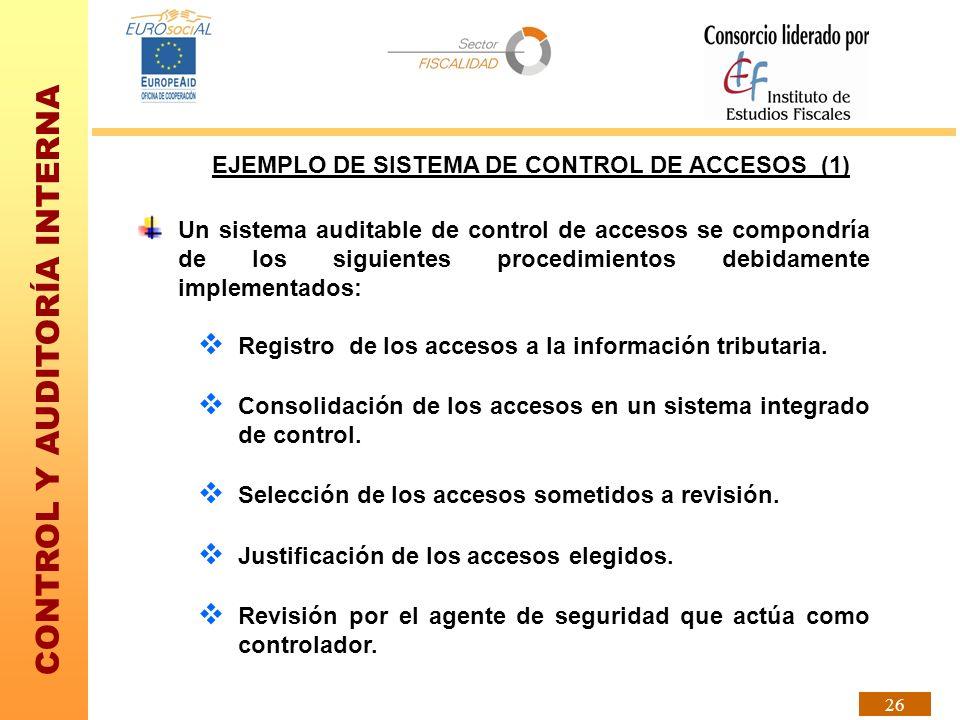 CONTROL Y AUDITORÍA INTERNA 26 EJEMPLO DE SISTEMA DE CONTROL DE ACCESOS (1) Un sistema auditable de control de accesos se compondría de los siguientes
