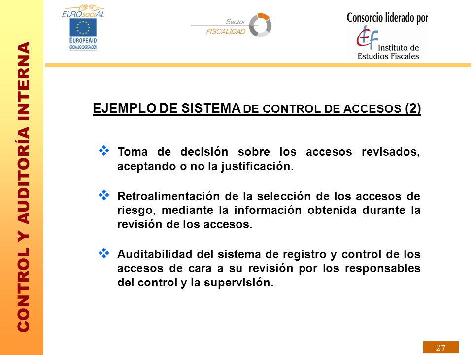 CONTROL Y AUDITORÍA INTERNA 27 EJEMPLO DE SISTEMA DE CONTROL DE ACCESOS (2) Toma de decisión sobre los accesos revisados, aceptando o no la justificac