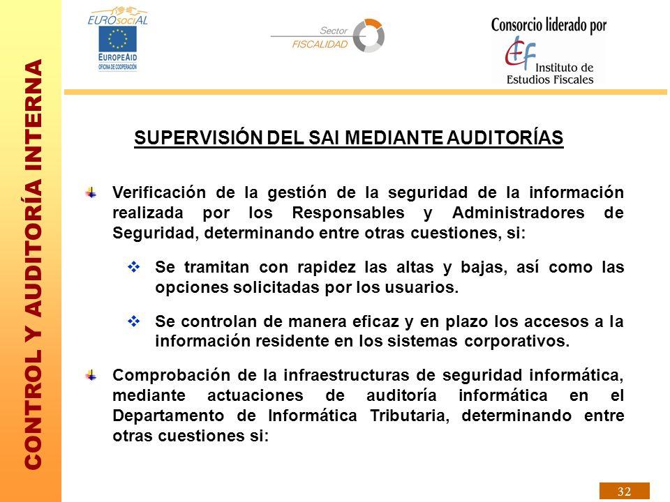 CONTROL Y AUDITORÍA INTERNA 32 Verificación de la gestión de la seguridad de la información realizada por los Responsables y Administradores de Seguri
