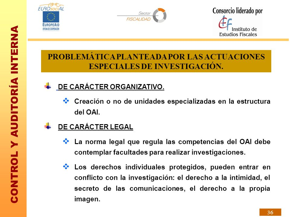 CONTROL Y AUDITORÍA INTERNA 36 PROBLEMÁTICA PLANTEADA POR LAS ACTUACIONES ESPECIALES DE INVESTIGACIÓN. DE CARÁCTER ORGANIZATIVO. Creación o no de unid