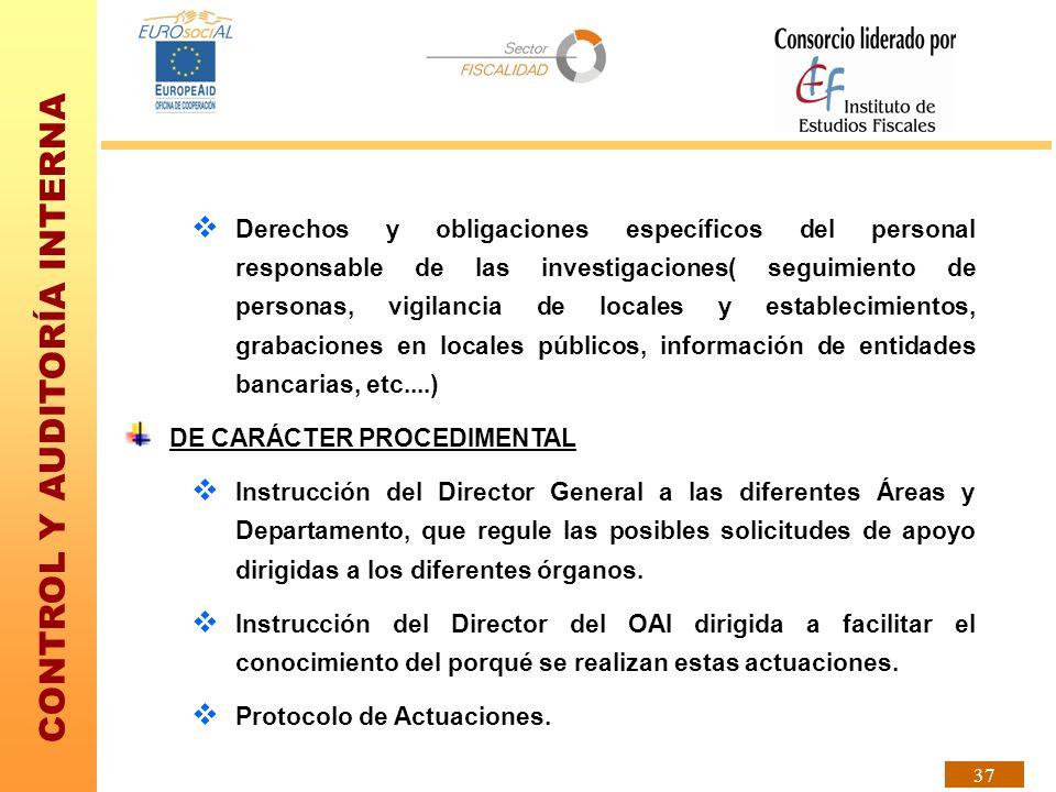 CONTROL Y AUDITORÍA INTERNA 37 Derechos y obligaciones específicos del personal responsable de las investigaciones( seguimiento de personas, vigilanci