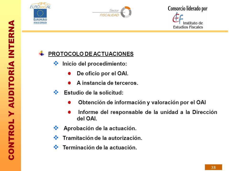 CONTROL Y AUDITORÍA INTERNA 38 PROTOCOLO DE ACTUACIONES Inicio del procedimiento: De oficio por el OAI. A instancia de terceros. Estudio de la solicit