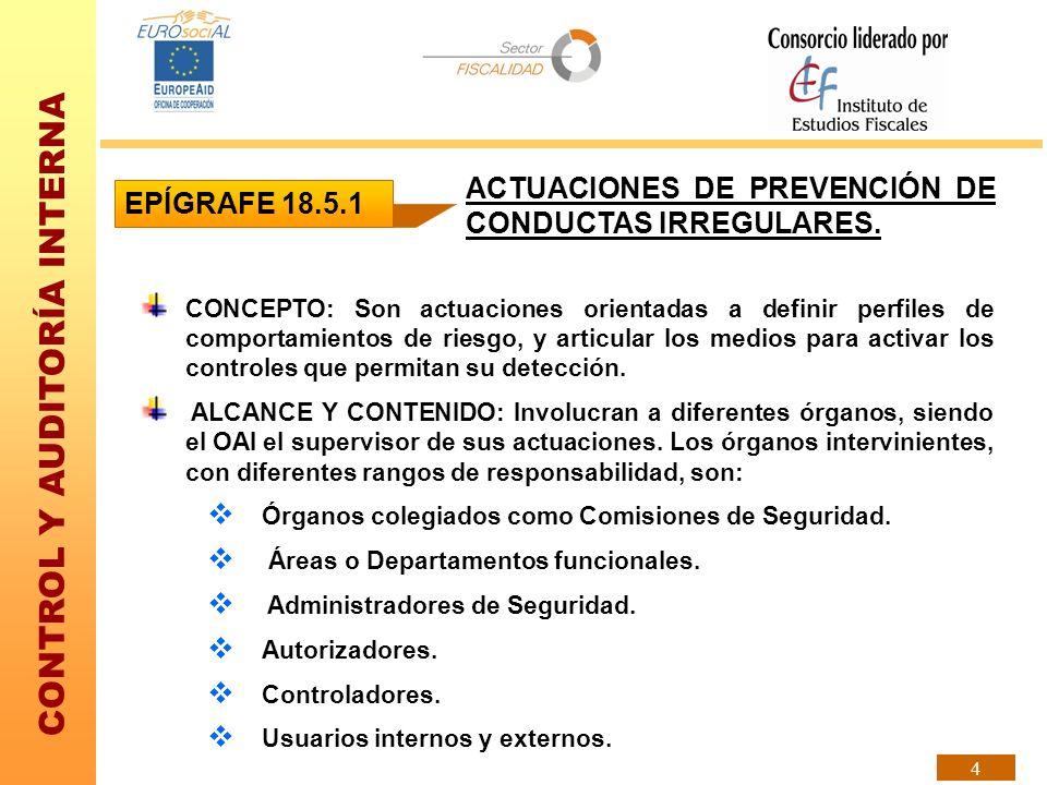 CONTROL Y AUDITORÍA INTERNA 4 ACTUACIONES DE PREVENCIÓN DE CONDUCTAS IRREGULARES. CONCEPTO: Son actuaciones orientadas a definir perfiles de comportam