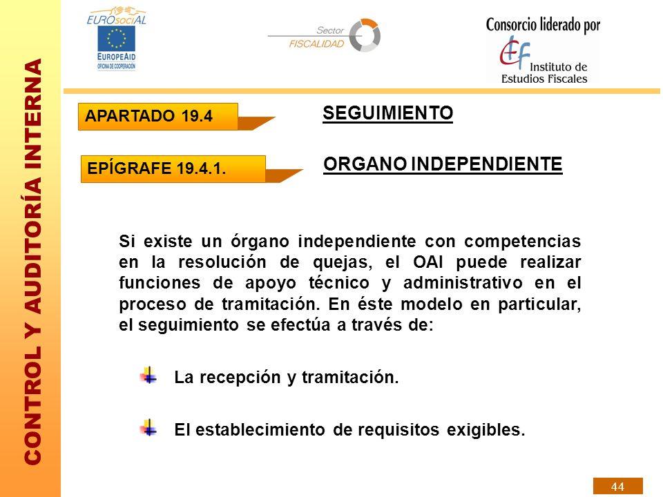 CONTROL Y AUDITORÍA INTERNA 44 SEGUIMIENTO ORGANO INDEPENDIENTE Si existe un órgano independiente con competencias en la resolución de quejas, el OAI