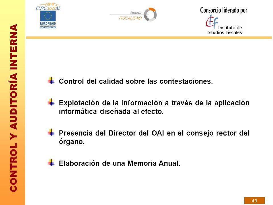 CONTROL Y AUDITORÍA INTERNA 45 Control del calidad sobre las contestaciones. Explotación de la información a través de la aplicación informática diseñ