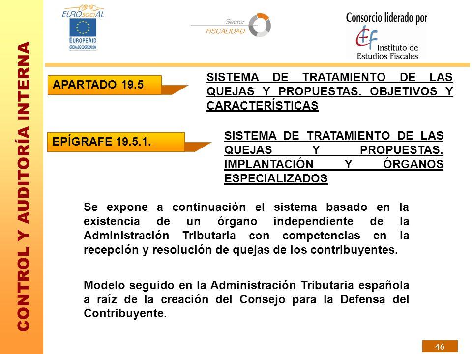 CONTROL Y AUDITORÍA INTERNA 46 APARTADO 19.5 SISTEMA DE TRATAMIENTO DE LAS QUEJAS Y PROPUESTAS. OBJETIVOS Y CARACTERÍSTICAS EPÍGRAFE 19.5.1. SISTEMA D