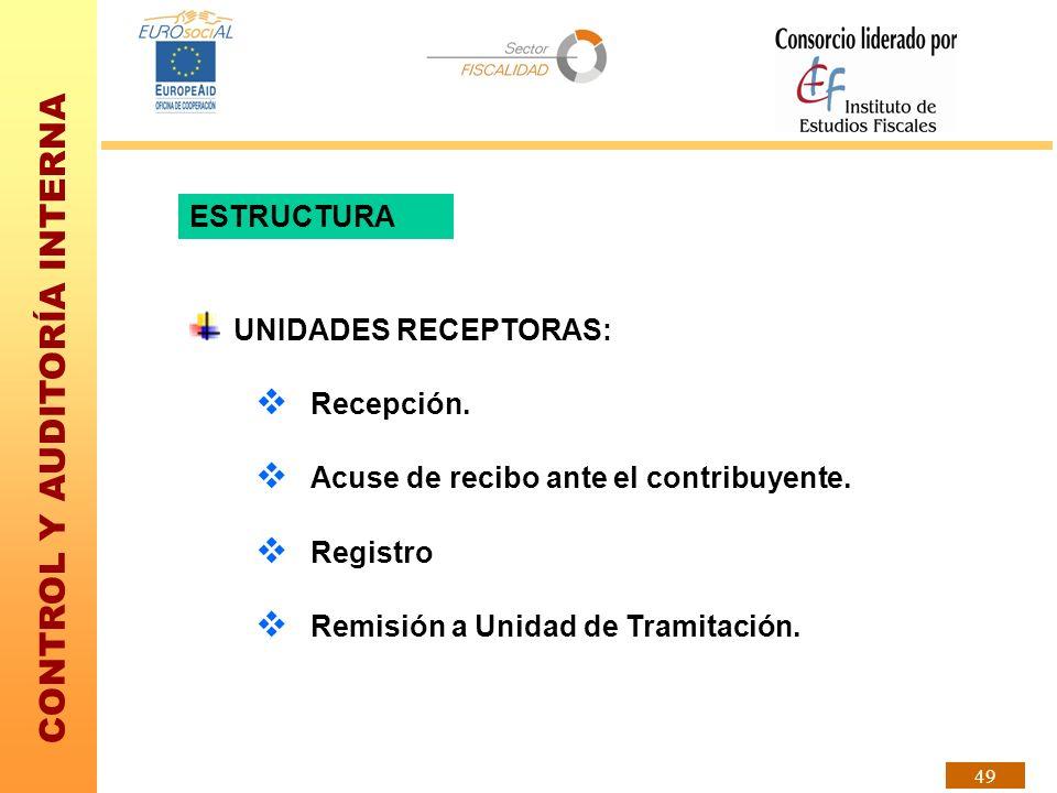 CONTROL Y AUDITORÍA INTERNA 49 ESTRUCTURA UNIDADES RECEPTORAS: Recepción. Acuse de recibo ante el contribuyente. Registro Remisión a Unidad de Tramita