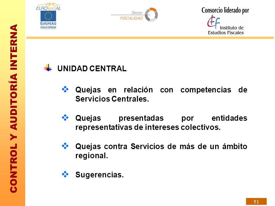 CONTROL Y AUDITORÍA INTERNA 51 UNIDAD CENTRAL Quejas en relación con competencias de Servicios Centrales. Quejas presentadas por entidades representat