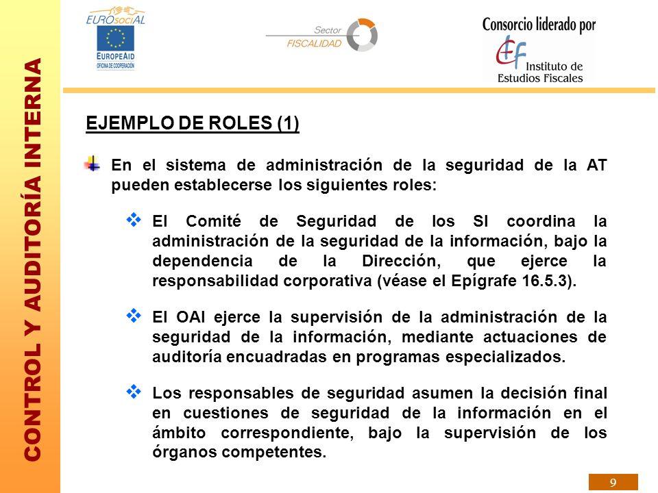 CONTROL Y AUDITORÍA INTERNA 9 EJEMPLO DE ROLES (1) En el sistema de administración de la seguridad de la AT pueden establecerse los siguientes roles: