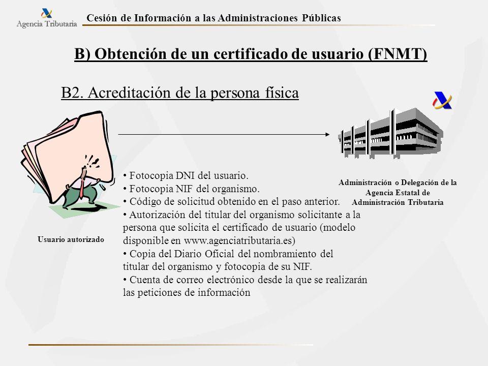 Cesión de Información a las Administraciones Públicas B) Obtención de un certificado de usuario (FNMT) B2. Acreditación de la persona física Administr